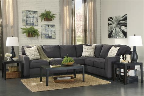 decorate furniture fancy modern sectional charcoal sofa with square desk on