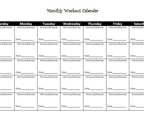 printable gym schedule printable workout schedule for women calendar template