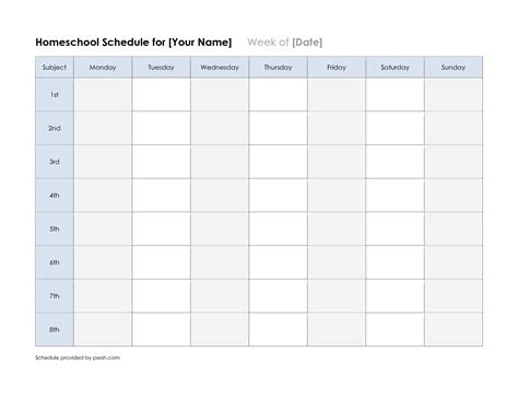 6 best images of printable week schedule free printable