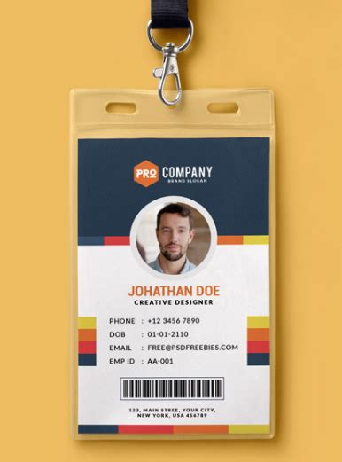 employee id card template 10 free employee id card design templates mockups