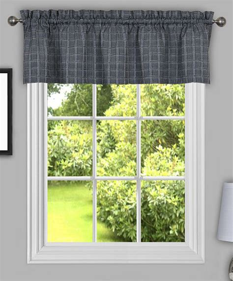 grey valance curtains sydney tailored plaid valance grey achim country