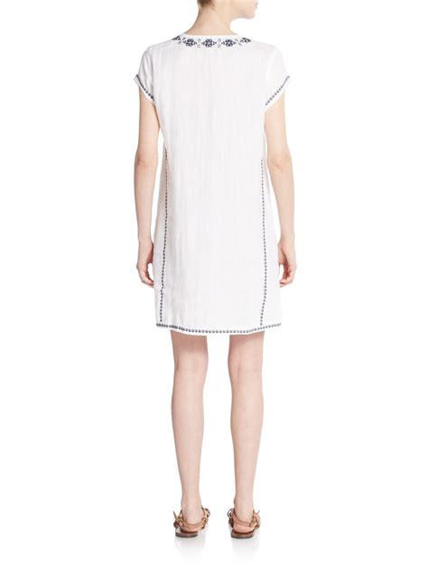 47429 Dress Hodie Avenue saks fifth avenue embroidered lace front linen shift dress