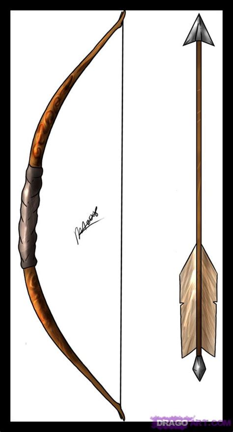 How To Draw A Bow And Arrow Step By Step Projectile Bow And Arrow Drawing