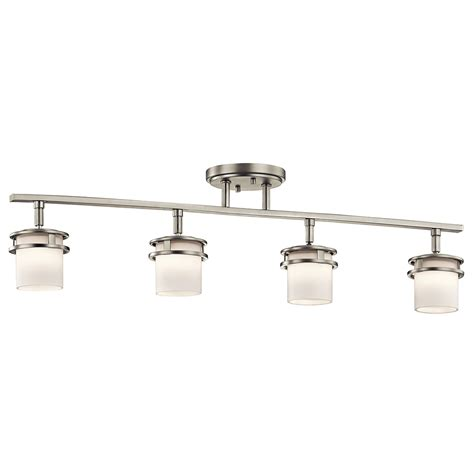 banister lights hendrik brushed nickel four light rail light kichler monorail packages track lighting ceil