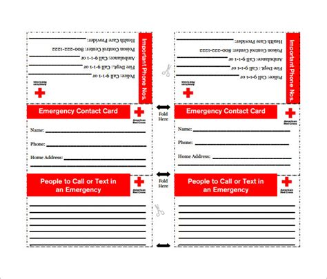 emergency card template contact card template 16 free printable word pdf psd