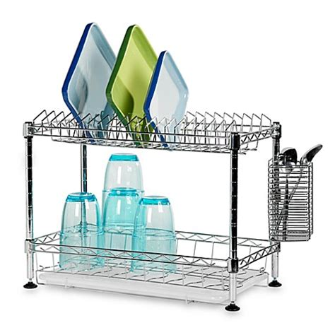 bed bath and beyond dish drying rack stax living 2 tier countertop dish rack bed bath beyond