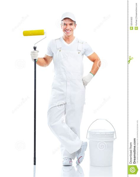 a painter painter professional smiling isolated over white