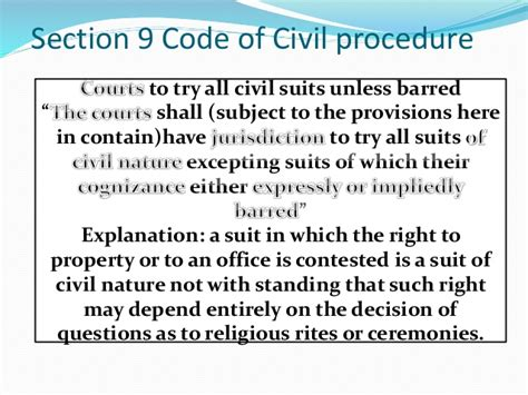 section 60 of civil procedure code section 9 of code of civil procedure 1908 jurisdiction of
