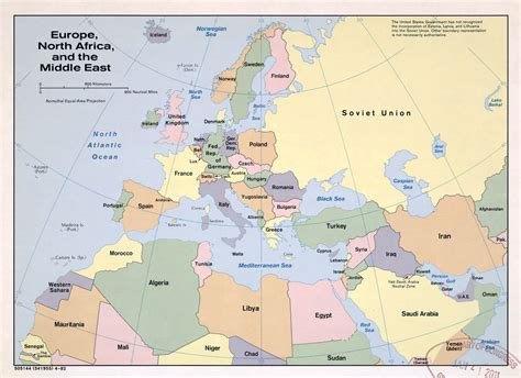 map of europe and middle east large political map of europe africa and the middle east 1982 vidiani maps of