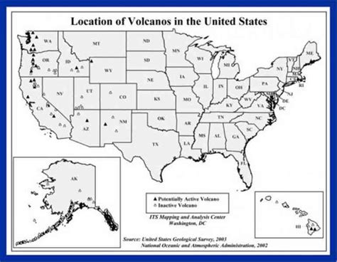 america volcano map map of volcanoes in the united states map