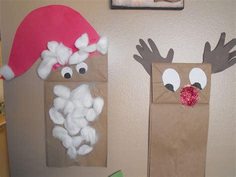 crafty kid rudolph  santa paper bag puppets