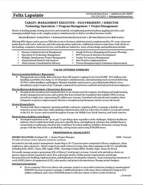 Resume Exles Administration program management resume exles 28 images 10 project