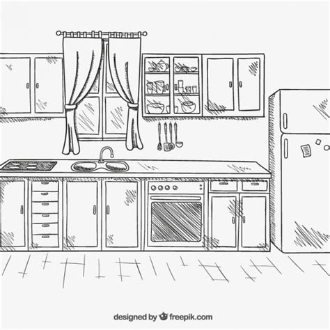 draw a layout of your kitchen counters hand drawn kitchen vector free download