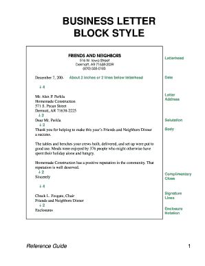 Business Letter For Printing Services Block Style Fill Printable Fillable Blank Pdffiller