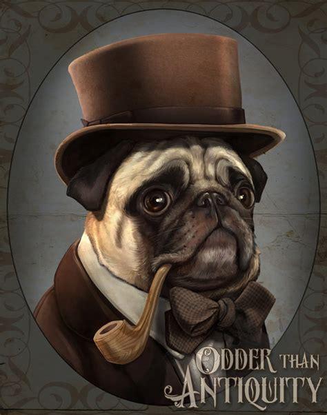 pug et costume mr farnsworth pug gentleman steunk top hat pipe original illustration