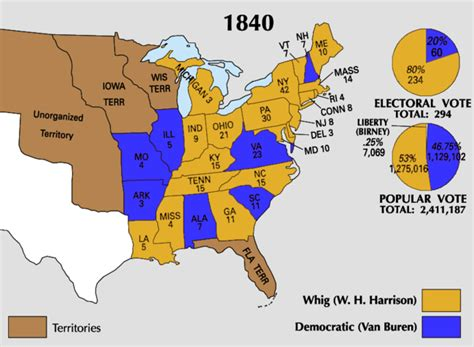 map of the united states in 1840 united states presidential election 1840 wikipedia