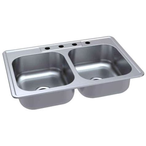 Glacier Bay Top Mount 33 In 4 Hole Double Bowl Kitchen Glacier Bay Kitchen Sink
