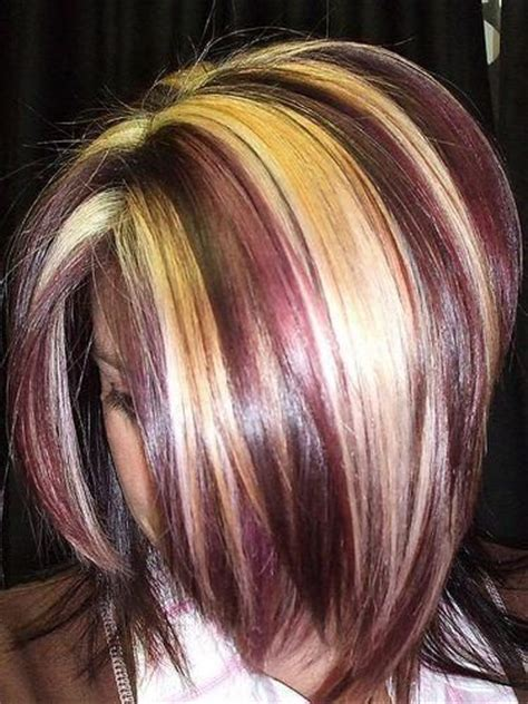 is streaking still popular on hair chunky blonde streaks with burgundy hair cuts