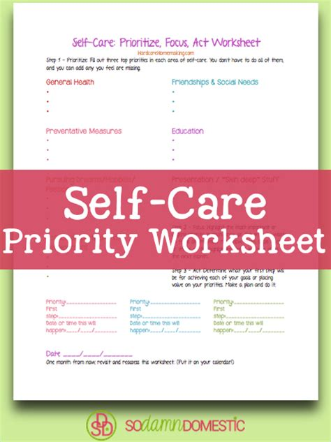 Self Care Worksheets by Self Care Plan Worksheet Free Worksheets Library