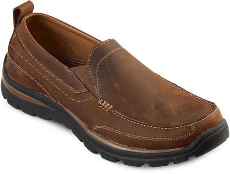 skechers gains leather mens slip on shoes shopstyle canada