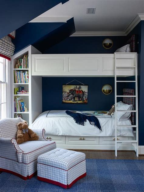 Boys Room With Bunk Beds Navy Boys Bedroom With Wainscoted Bunk Beds Transitional Boy S Room