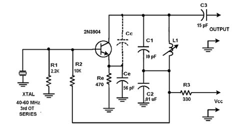 transistor oscillator circuit oscillator circuit diagram using transistor for overtone operation circuit wiring diagrams