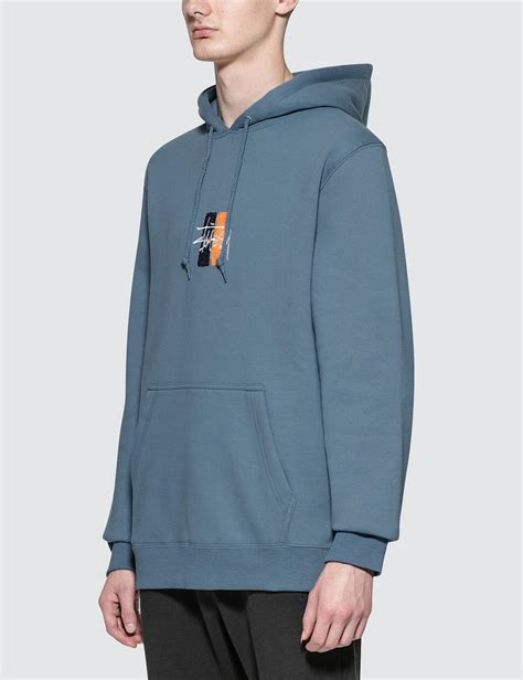 Hoodie Stussy New Yorkleadermerch lyst stussy bars logo app hoodie in blue for