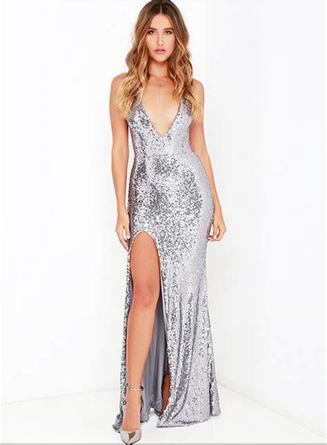 Slim Dress Chagne Sequin Size S M L Anggun Manis 43366 s v neck sleeveless backless slit maxi sequins dress novashe