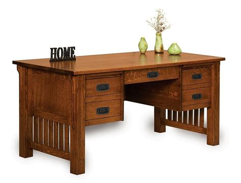 amish mission craftsman executive computer desk office furniture solid wood ebay