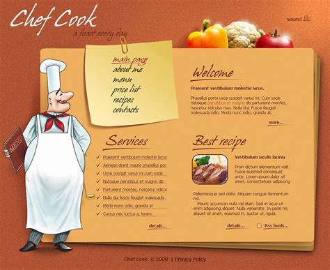 chef template chef website template web design templates website
