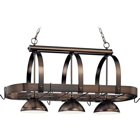 Kitchen Pot Rack With Lights Volume Lighting 3 Light Antique Bronze Pot Rack Pendant V3023 79 The Home Depot