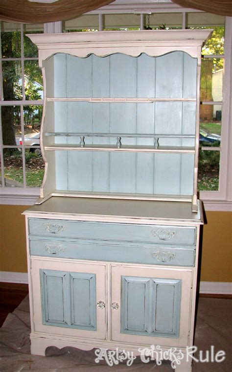 chalk paint hutch dated 70 s hutch transformed into a coastal shabby