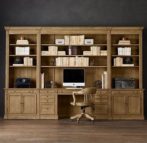 library bookcase wall unit restoration hardware rh s library desk wall system our solid wood bookcase