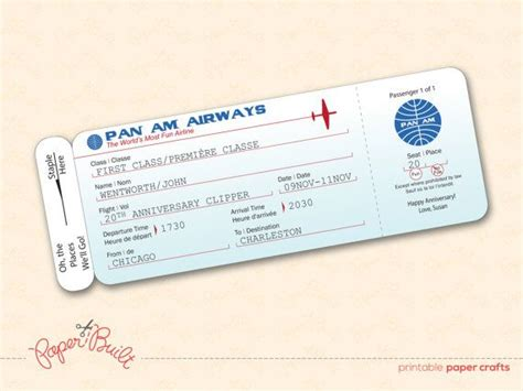 plane ticket template for gift printable pan am style airline ticket boarding by