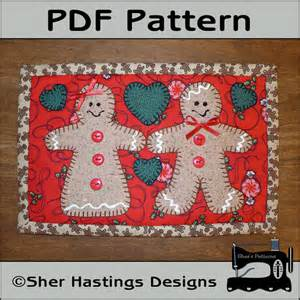 pdf pattern for gingerbread mug rug christmas by