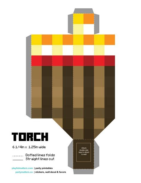 Minecraft Torch Papercraft - diy minecraft torch if you are a minecraft