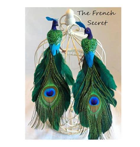 peacock bird decoration wedding green peacock cake topper decoration centerpiece