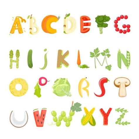 vegetables 3 letters fruits with vegetable alphabet vector vector font free