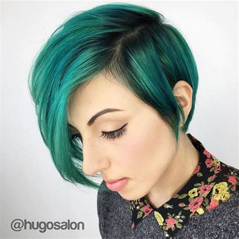 Green Hairstyles by Teal Green Hair Color Painted A Sweet Hair Cut
