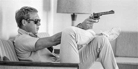 steve mcqueen sofa and gun poster trendhimuk the key piece of every men s wardrobe white