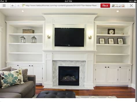 White Paneled Fireplace Surround With Tv And Built In Fireplace Bookshelves Ideas