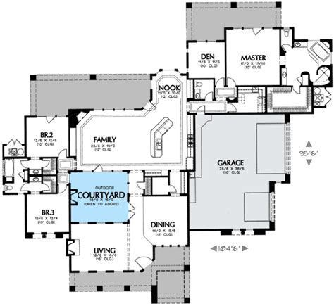 courtyard house plans interior courtyard 16360md 1st floor master suite