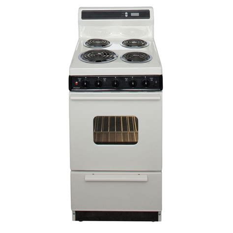 premier 24 in 2 97 cu ft electric range in biscuit