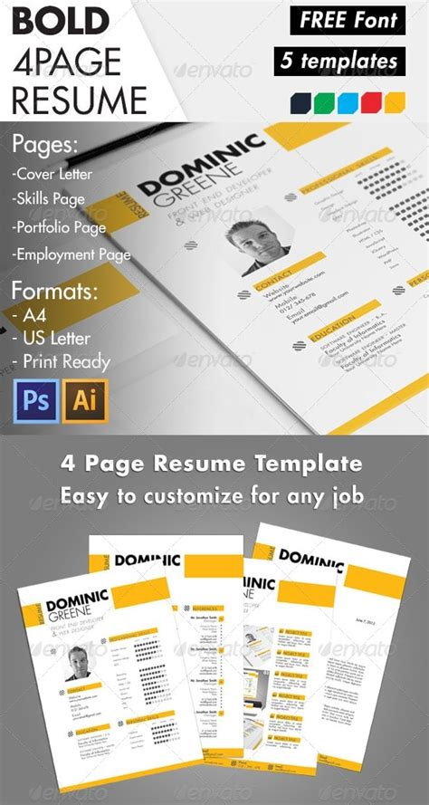 Awesome Free Resume Cv Templates 56pixels Com Bold Resume Template