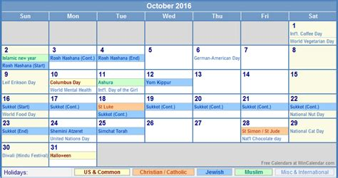 october 2016 us calendar with holidays for printing image