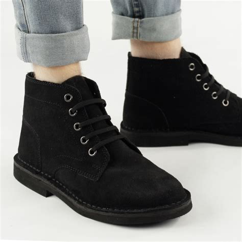 roamers mens suede leather lace up desert boots black