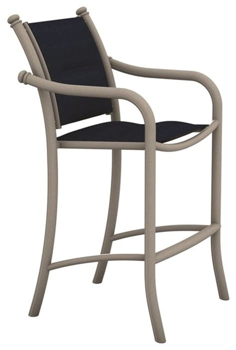 Outdoor Sling Bar Stools by Tropitone Tropitone La Scala Padded Sling Bar Stool