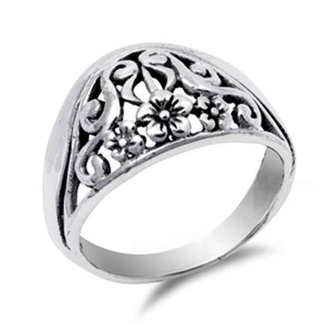 sterling silver s plumeria fashion ring promise 925