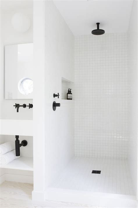 White Shower | 10 favorites white bathrooms from the remodelista
