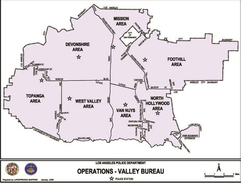 Map Of Valley Bureau Los Angeles Police Department Bureau Vallée Balaruc